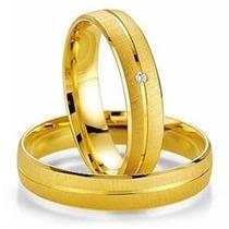 Par De Alianças Ouro 18k 4mm 12gr 1 Diamante 2p Frete Grátis