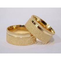 Par De Alianças Prata 950 Banhadas A Ouro 18k Zirconia Anat