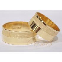 Par De Alianças Prata 950 Banhadas A Ouro 18k Com Zirconia