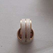 Par De Aliança Prata 950 Fosca Com Banho De Ouro 18k 10mm