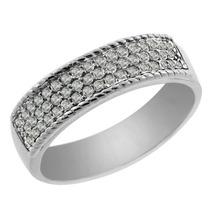 0.45 Ct 3-row Redonda White Diamond Sterling Banda Anel De P