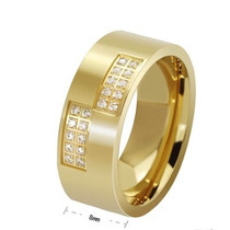 Par Aliança Pedra De Zircônia Banhada Ouro Casamento Noivado