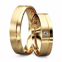 Alianças Reta Ouro 18k Com Diamante Mais Vendida Na Internet