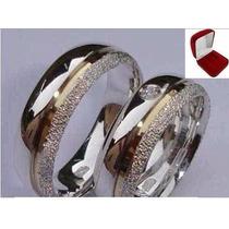 Par Alianças Compromisso Prata 950 E Ouro 18k Diamantada 6mm