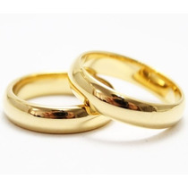 Aliança Tradicional De Tungstênio 6mm Folheada A Ouro 24k