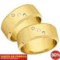 Par De Alianças Ouro 18k Prata 950 Banhada Com Zirconias 6mm