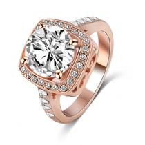 Aliança Feminina Com Cristal Folh. A Ouro Rose 18k -rommanel