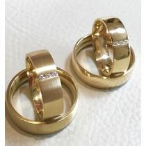 Par De Aliança Grossa Em Ouro 18k 750 Com Diamantes Promoção