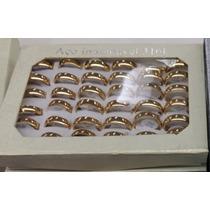 Caixa C/ 36 Alianças Aço Inox 5.5mm Banho Dourado (promoção)