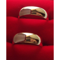 Par De Alianças Meia Cana 6mm Anatômicas Banhadas Ouro 18k