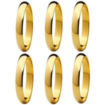 Lote Com 6 Alianças Aço Inox 4mm Banho Dourado (promoção)