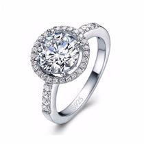 Lindo Anel Em Prata Genuina 925 Com Diamante Cz Compromisso