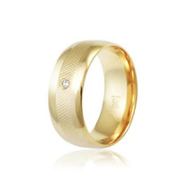 Par Aliança Anatômica Modelo Luxo 9mm 3 Camadas Ouro 18k