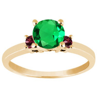 Verde Nano Emerald Anel De Ouro Amarelo Banhado