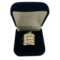 Aliança Anel Grande De Ouro 12k Prata 950 E Pedras Genuínas