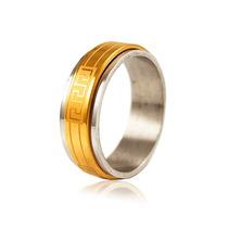 Anel Dourado Aliança Aço Cirúrgico Inox Banhado A Ouro 18k