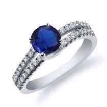 925 Anel De Prata Esterlina Com Safira Azul Feita De 0,93 Kt