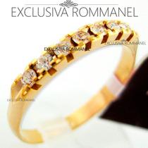 Rommanel Anel Aliança Folhead Ouro Compromisso Namoro 510025