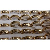 Caixa C/ 36 Alianças Aço Inox 6mm Banho Dourado (promoção)