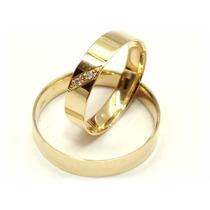 Alianças(par) Ouro18k 5gramas 2 Diamantes Casamento Joianete