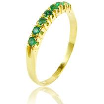 Meia-aliança Em Ouro Amarelo 18 Quilates +esmeraldas