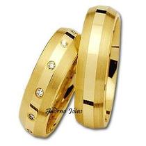 Par Alianças 10 Grs Ouro 18k/ 750 Diamantes Frete Nota Fisca