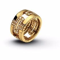 Anel Em Ouro 18k Modelo Bvlgari Com Diamantes - Cwb Joias