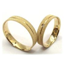 Aliança Ouro18k-750 5 Gramas Par Brilhantes-casamento