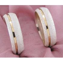 Alianças Prata 950 E Ouro 6mm Diamantada O Par Frete Grátis