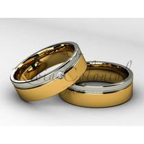 Aliança De Ouro Branco E Ouro Amarelo 18k E Diamante.