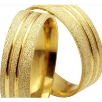 Par De Alianças Ouro 18k Prata 950 6mm Fosca Casamento
