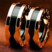 Par Aliança Anel Aço E Ceramica Banhado Ouro Rose 18k