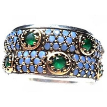 Hoq-anel Aliança Turquia Turco Prata 925 Turquesa Esmeralda