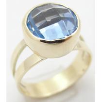 Feliz Joias - Topázio Azul Em Lindo Anel De Ouro 18k