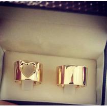 Aliança Prata Banho Ouro Grossa 12mm Coração Vazado Noivado