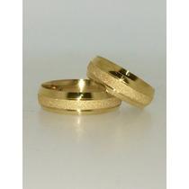Par De Aliança Em Ouro 18k 750 Com 5mm E 10,0 Gramas O Par