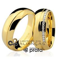 Par De Aliança Ouro 18k - 7mm/18grs - 20 Diamantes - Dc764
