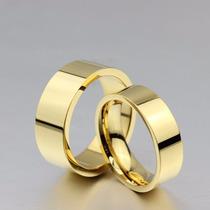 Par Alianças Casamento Baratas Banhada Ouro 18k Reta 6mm/8mm