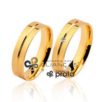 Par Alianças Ouro 18k - 6 Grs 4mm Com Diamantes Frete Grátis