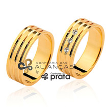 Par Alianças Ouro 18k 22grs 8mm - 3 Diamantes Frete Grátis