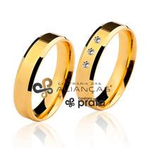 Par De Aliança Ouro 18k - 5mm/8grs - 03 Diamantes - Dc506