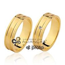 Par De Alianças 5mm -8 Grs Em Ouro 18k C/ Diamante E Garanti