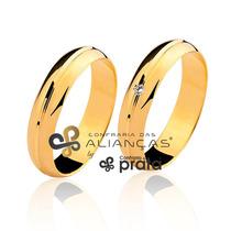 Par De Aliança Ouro 18k - 5mm/9grs - Com Diamante - Df522