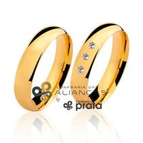 Par De Aliança Ouro 18k - 5mm/9grs - 03 Diamantes - Dc501