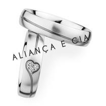 Par De Alianças Namoro Casamento Prata Banho De Ouro Branco