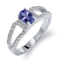 1.23 Ct Oval Azul Natural Tanzanite Aaaa 14k Anel De Ouro Br
