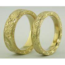 Aliança De Luxo Esculpida Artisticamente Á Mão Ouro 18k 25gr