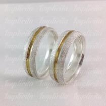 Aliança De Namoro Prata 950 Diamantado Friso Ouro 18k Api003