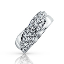 Bling Jewelry Sterling Pave Cubic Zirconia Torção Banda Anel