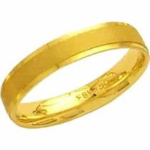 Aliança De Casamento Fosca Reta Trabalhada Em Ouro 18k-al68